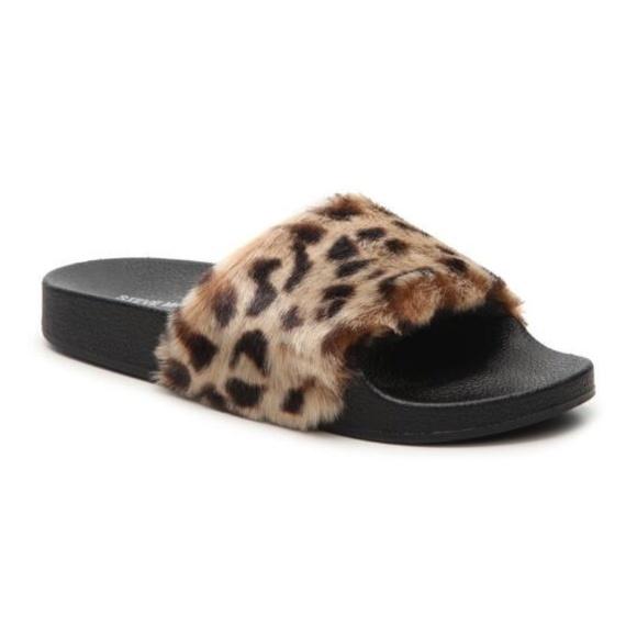 1124f1ff425 Steve Madden Softey Leopard Fluffy Slides Sz 7 8 9